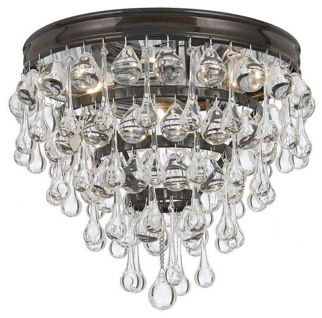 Calypso flush mounts contemporary flush mount ceiling lighting calypso 3 light crystal flush mount in vibrant bronze aloadofball Choice Image