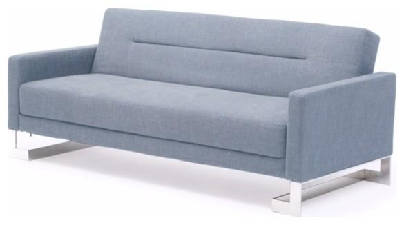 Fabric Sofa Bed Light Blue Contemporary Futons