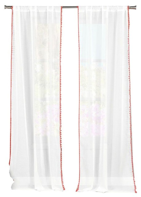 Aveline Pompom Pole Top Pair, Set of 2, Coral