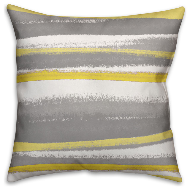 Yellow And Gray Stripes 18x18 Abstract Faux Suede Throw