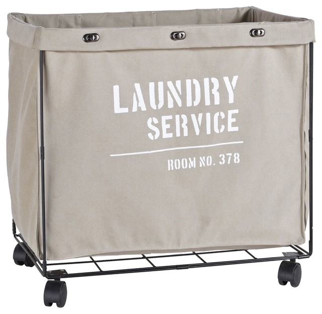 Danya B. Army Canvas Laundry Hamper On Wheels.