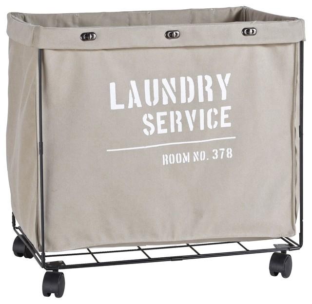 Danya B. Army Canvas Laundry Hamper On Wheels. -1