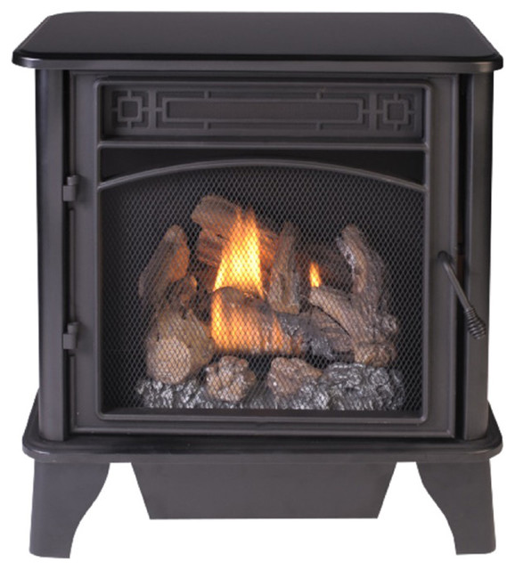 Gas Stove 3-Sided Dual Fuel Black, 23,000 Btu.