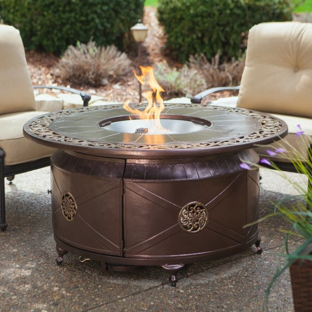 Round Propane Fire Pit Table With Decorative Scroll Mu