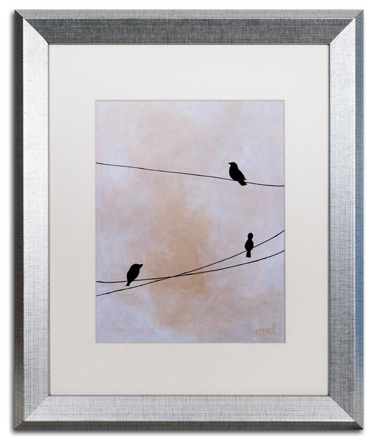 Nicole Dietz &x27;bird On Wire White&x27; Matted Framed Art, Silver Frame, White, 20x16.