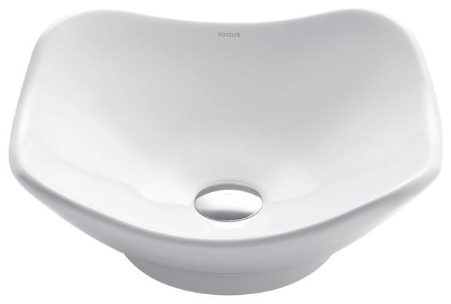 Elavo Ceramic Tulip Round Vessel White Sink