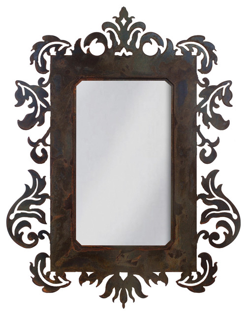 Wrought Iron Mirror Damask Style 36 Mirror With Rust Patina