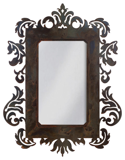 """Wrought Iron Mirror Damask Style 36"""" Mirror With Rust Patina"""