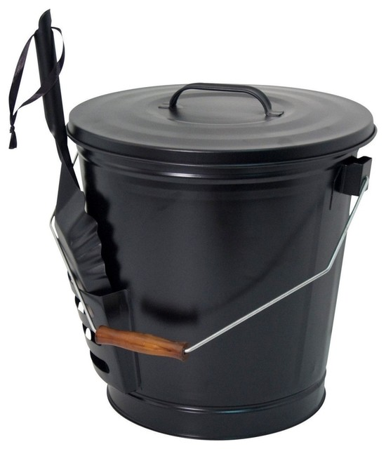 Panacea Fireplace Ash Bucket With Shovel, Matte Black.