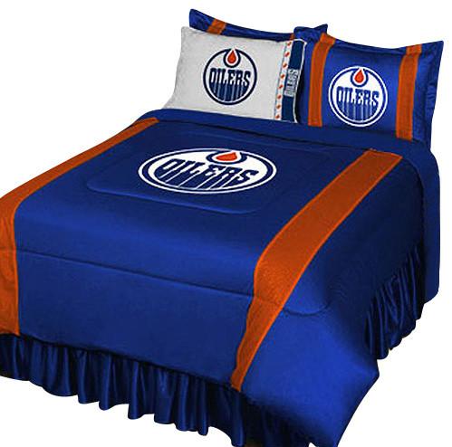Exceptional NHL Edmonton Oilers Bedding Set Hockey Comforter Sheets, Full