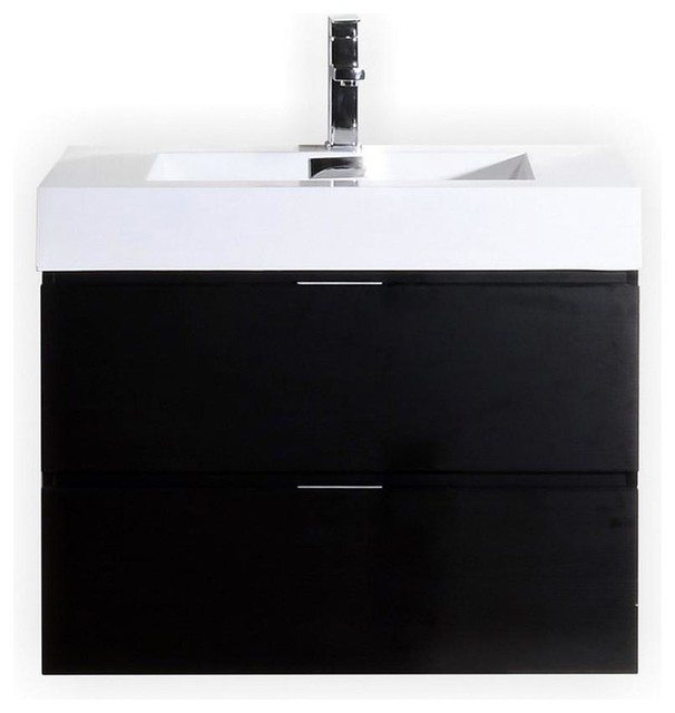 Kubebath Bliss 30 Black Wall Mount Single Sink Modern Bathroom Vanity.