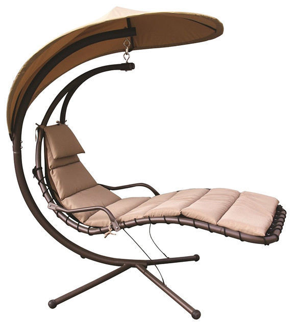 Hammock Chair With Arc Stand And Adjustable Canopy, Beige.