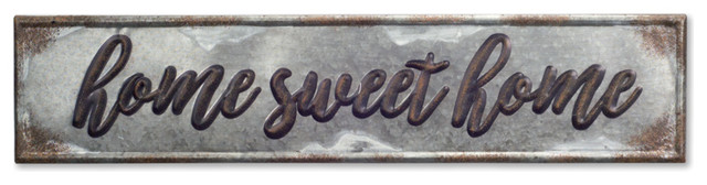 "Home Sweet Home Plaque 36""x8""h Metal, Set Of 2."
