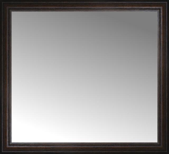 "35""x32"" Custom Framed Mirror, Distressed Brown."