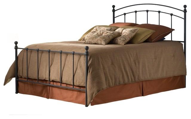 Metal Bed With Headboard, Footboard In Matte Black, Queen.