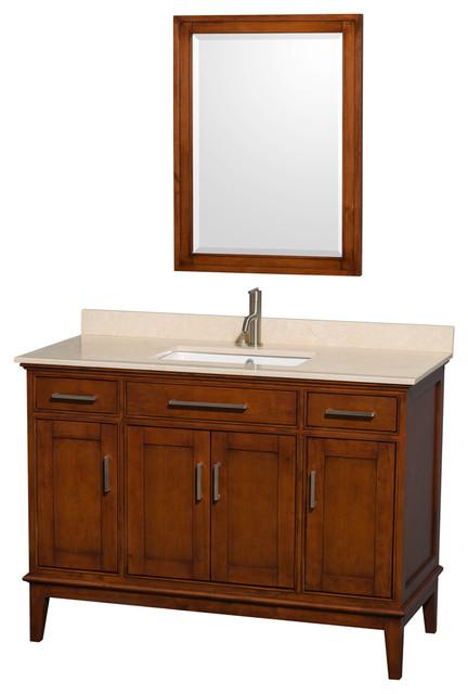Hatton 48 quot light chestnut sgl vanity ivory marble top um sq sink 24