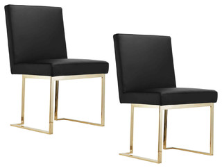 Gold Avery Side Chairs, Set of 2, Black/Gold