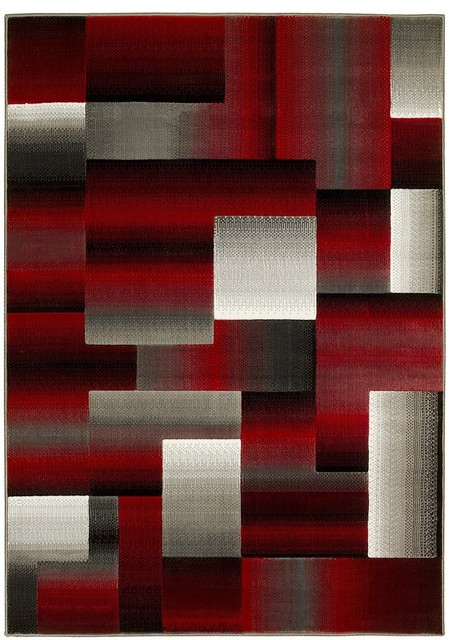 Hr Geometric Abstract Contemporary Area Rug, Red/Silver/Gray, 2u0027x3