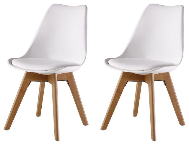 Jamie Tulip Dining Chair, White, Set of 2