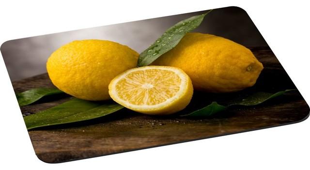 Still Life Art Yellow Lemon Will Green Leaf Mouse Pad.
