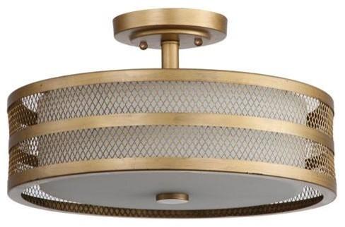 Greta 3-Light Antique Gold 15.75 Veil Semi Flush.