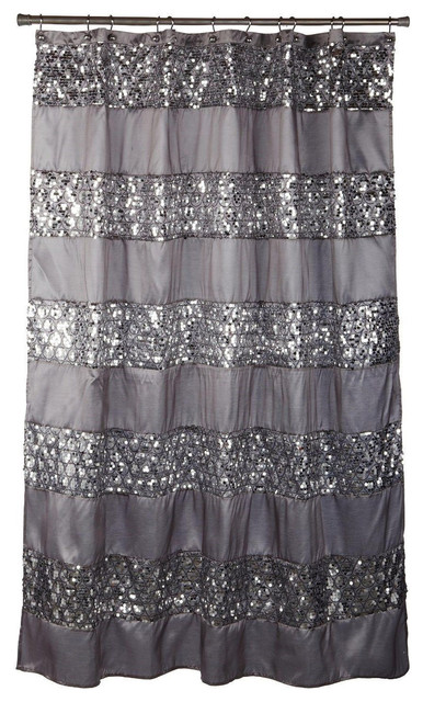 Exceptionnel Sinatra Silver Fabric Shower Curtain With Sequins