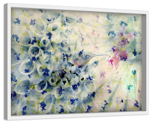 """""""humming"""" Painting Print On Canvas With Shadow Box, 45""""x30""""."""