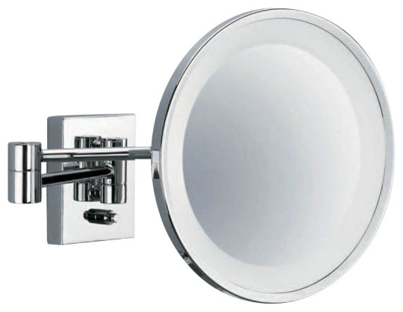 Smile Illuminated Magnifying Mirror Chrome Contemporary Wall Mirrors