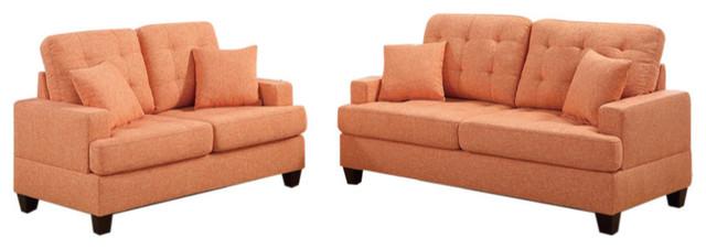 Polyfiber 2-Piece Sofa Set With Plush Cushion, Orange.