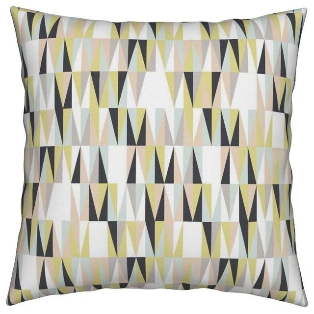 60s Chevron Atomic Triangles Geometric Throw Pillow