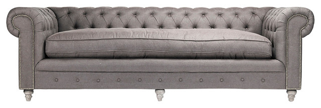 Hollywood Regency Alaine Natural Tufted Gray Linen Silver