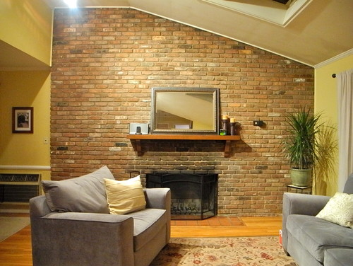 Huge Brick Fireplace Wall  Needs Facelift  Help!