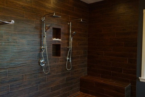 The new shower! Randy used beautiful American Heritage wood look tile in  color Spice to create this beautiful open shower with dual shower heads. - Master Bath Overhaul Before And After
