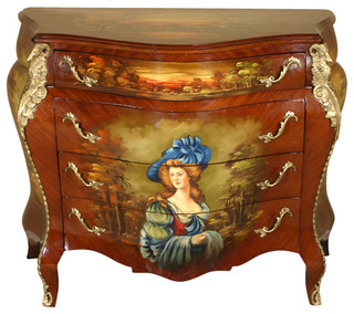 Mbw Furniture Hand Painted French Bombe Bombay Chest