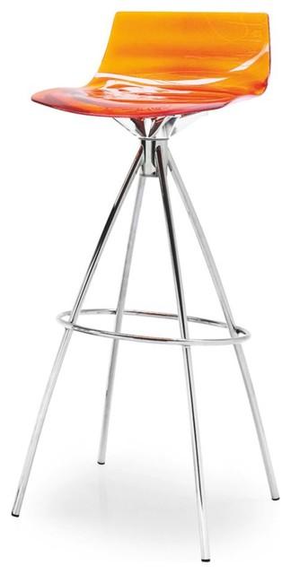 Fine Leau Bar Stool Transparent Orange Non Swiveling Ncnpc Chair Design For Home Ncnpcorg