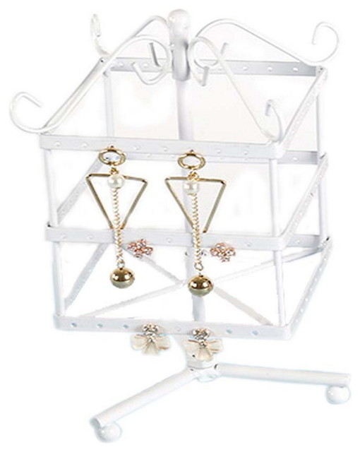 Jewelry Box Earrings Storage Rotatable Square Display Stand White