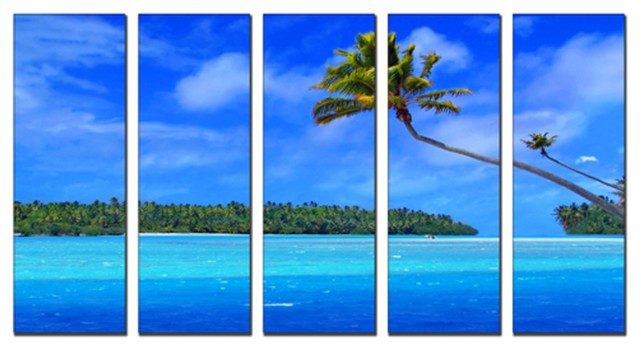canvas prints framed huge canvas print 5 panel tropical beach painting wall art contemporary