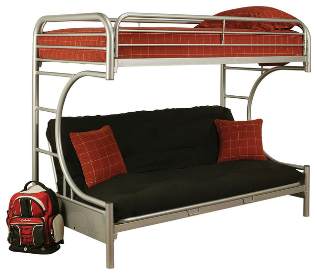 online store aacf1 b7e15 Eclipse Futon Bunk Bed, Silver, Twin Over Queen