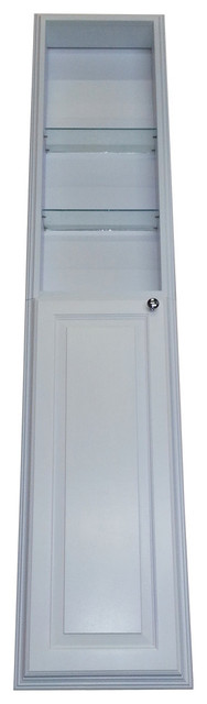 60 Recessed White Enamel Finished Montery Pantry Storage Cabinet With 30 Shelf.