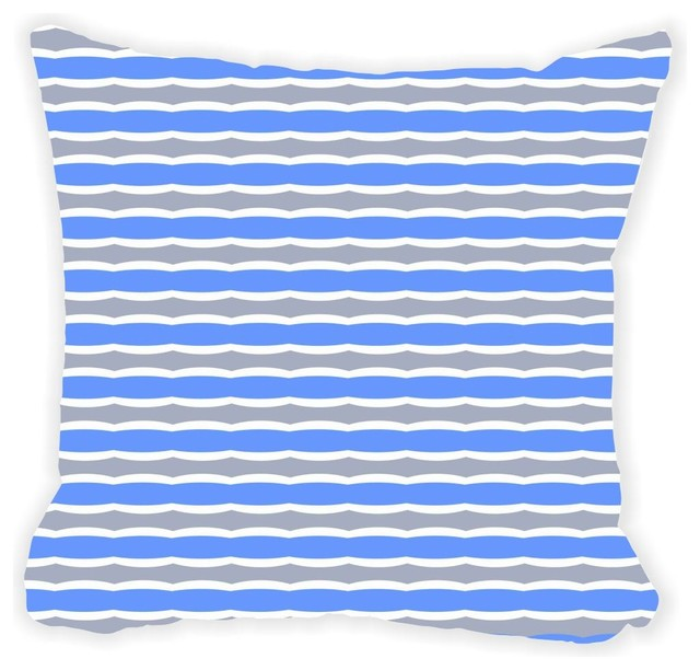Shop Houzz Rikki Knight LLC Blue and Gray Swirly Stripes Microfiber Throw Pillow - Decorative ...