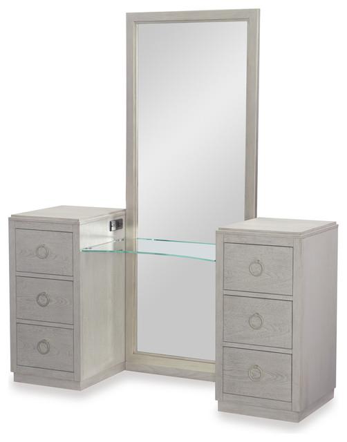 Rachel Ray Home Cinema Vanity With Mirror, Shadow Gray 7200-7400K