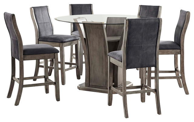 7 Piece Counter Height Dining Set Round