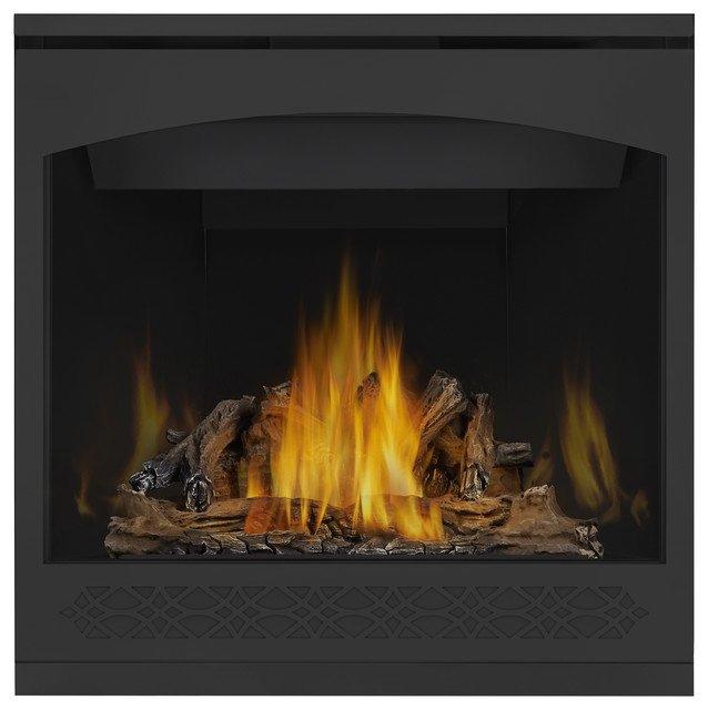 """Superior 33"""" Top Vent Millivolt Fireplace With Aged Oak Logs, Natural Gas"""