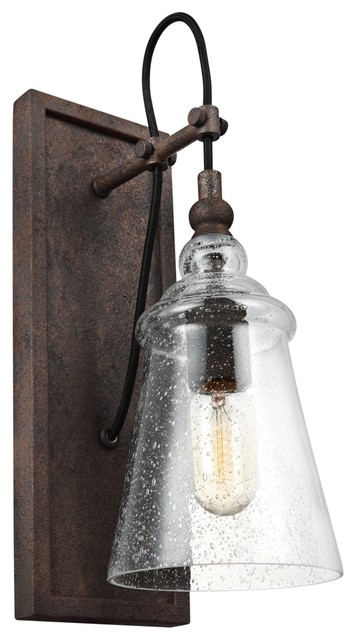Loras One Light Wall Sconce Dark Weathered Iron Clear Seeded Gl
