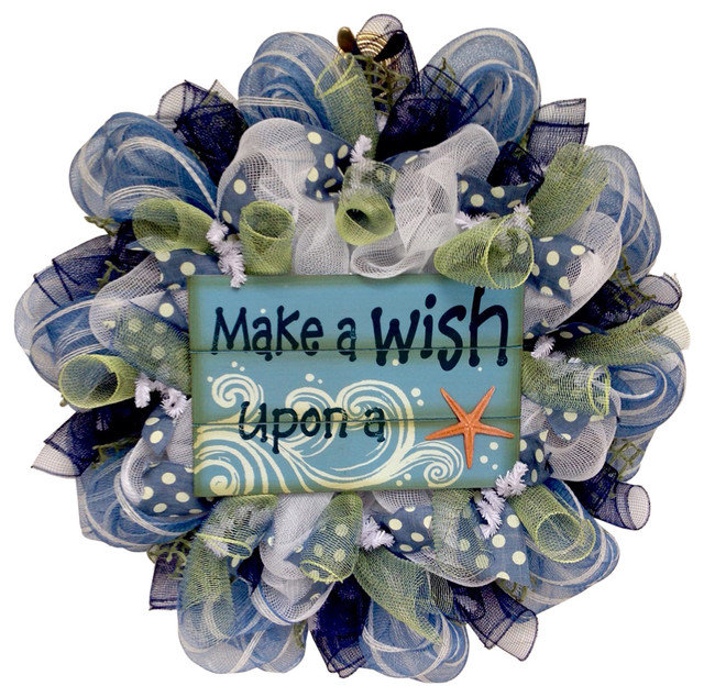 Make A Wish Upon A Starfish Beach Coastal Wreath Handmade Deco Mesh.