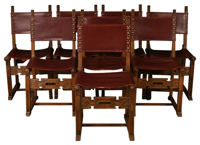 Consigned Vintage Spanish Mission Dining Chairs Set Of 8