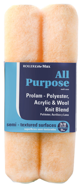 9 X 3/4 Polyester, Acrylic, Wool Blend Rollerlite Max Roller Covers, Pack Of 2.