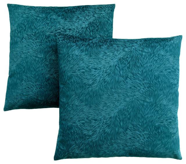 "18""x18"" Light Feather Velvet Pillow, Turquoise, Set Of 2."