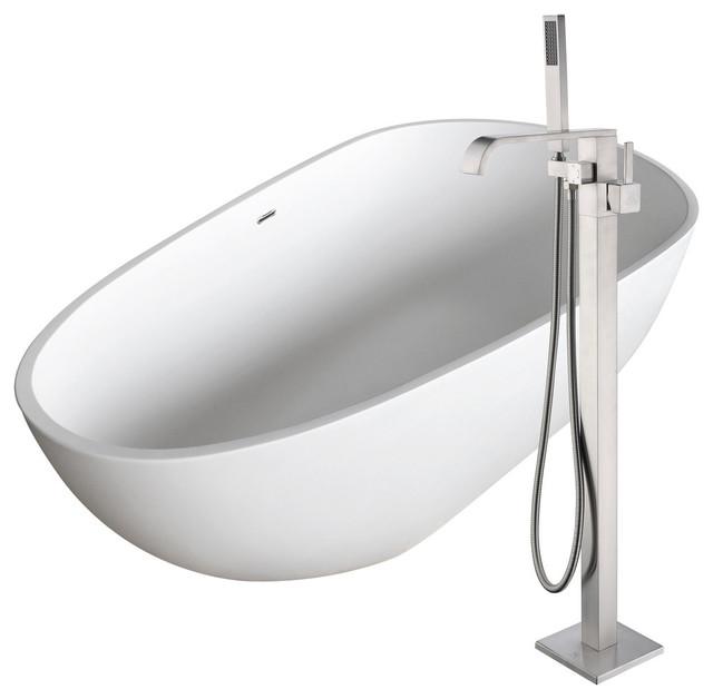Fiume 67 Man-Made Stone Flatbottom Bathtub, Angel Faucet, Brushed Nickel.