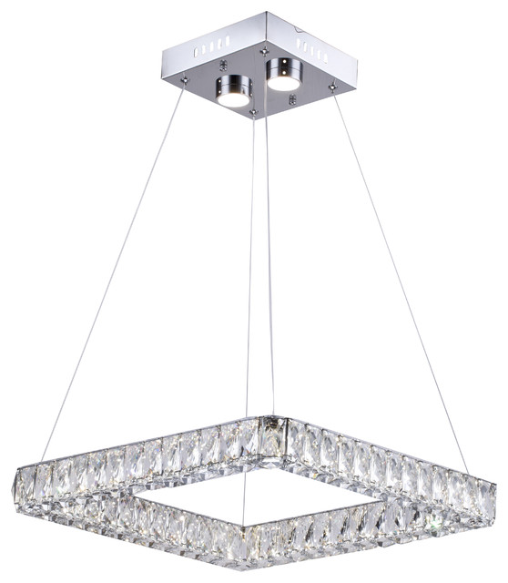 Triple Sided Clear Crystal Square Led Light Fixture With Stainless Steel Frame